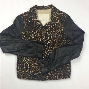 Denim & supply | cheetah faux leather denim jacket